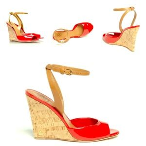 Red Tory burch cork wedges