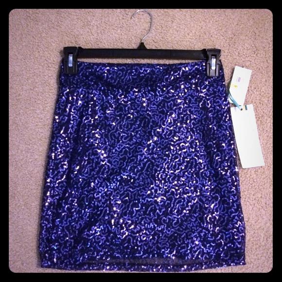 58 dresses skirts nwt navy blue sequin skirt size