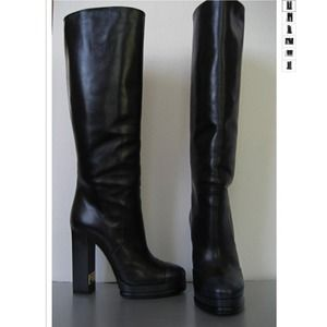 Authentic Chanel Black Cap Toe Tall Boots