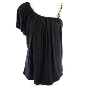 Sky Tops - Sky Black Chain One Shoulder Stretch Top XS New