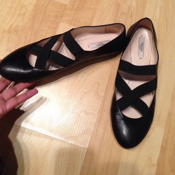 61 Off Prada Shoes Prada Black Elastic Strap Ballet