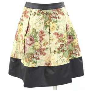 Ark & Co Dresses & Skirts - Brocade Tapestry Faux Leather Trim Skirt