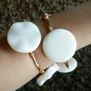 Natural stones white bracelets