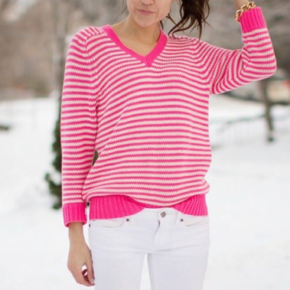 78% off J. Crew Sweaters - J.Crew Neon Pink Stripe Sweater 💗 from ...
