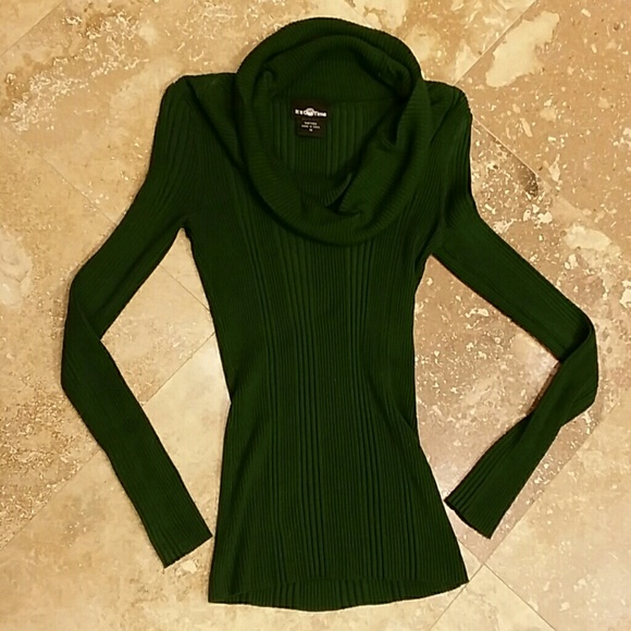 59% off It's Our Time Sweaters - Dark/Hunter Green Cowl Neck ...