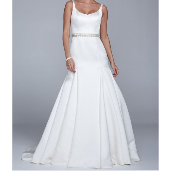 Satin Trumpet Gown with Button Detail Back