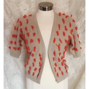 Sparrow Anthropologie Orange Fluff Bolero Cardigan