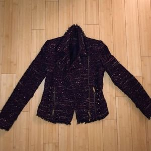 Zara Traffaluc Tweed Jacket With Gold Hardware