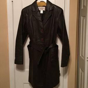 Chocolate Brown Leather Trench Coat w/ Gloves