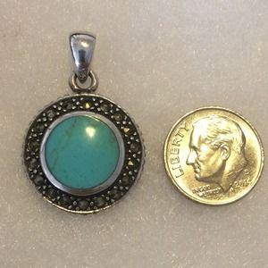 Vintage .925 SS Turquoise & Marquesite Pendant