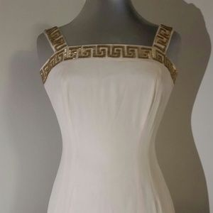 Cache ivory beaded trim mini formal dress