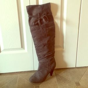 Shoes - Above-the-Knee Suede Boots