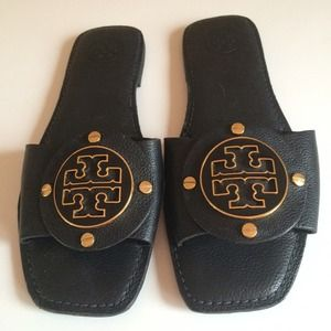 Tory Burch Black Flat Slip on Sandal Women's Sz 8
