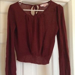exhilaration Tops - Maroon lightweight crop top sweater