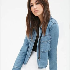 Brand new!!! Forever 21 cropped back denim jacket