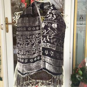 Velvet design and sheer scarf