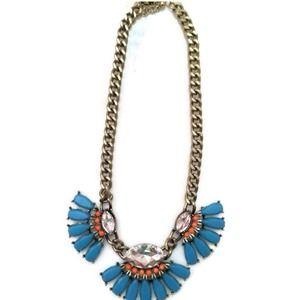 Blue fringe statement necklace