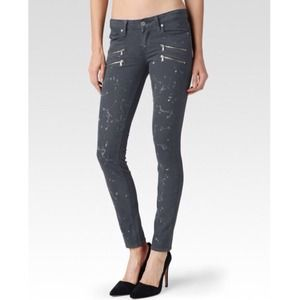 Paige Ultra Skinny Zippered Pocket Paint Jean