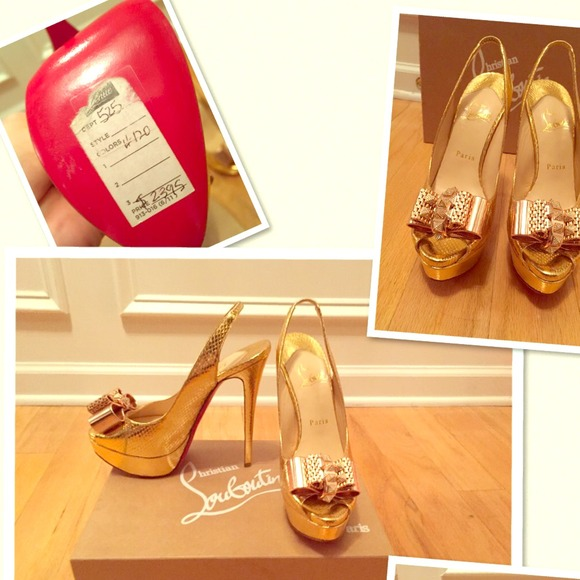 37bec7a854a NEW STUNNING GOLD LOUBOUTINS SIZE 37 1/2 NWT