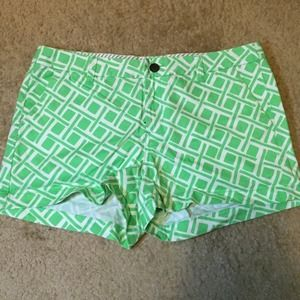green and white merona shorts