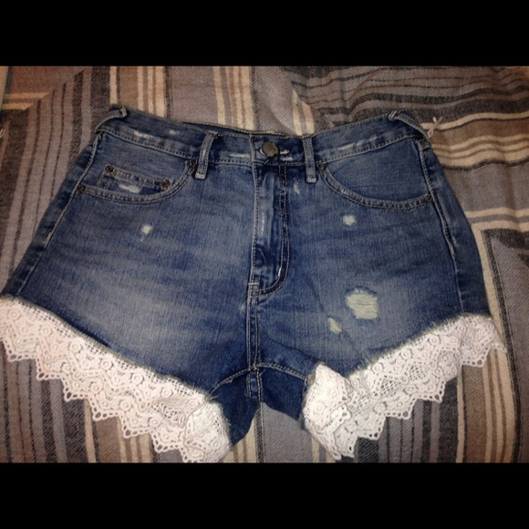 23% off Free People Denim - Free people denim shorts with lace ...