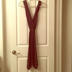 Dresses & Skirts - Long Brown Deep V Dress