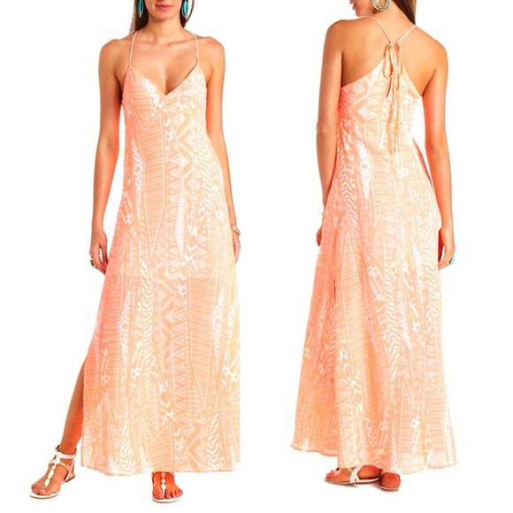 50% off Charlotte Russe Dresses & Skirts - SOLD! Neon Pink Tribal ...