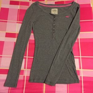 Hollister long sleeve gray shirt with buttons