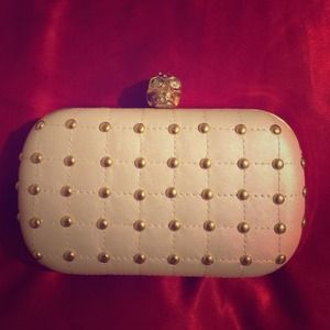 NEW JustFab Studded Skull Clutch