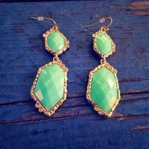 ILY Couture Jewelry - Mint gold crystal statement drop earrings NEW
