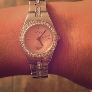 Pink faced crystal watch