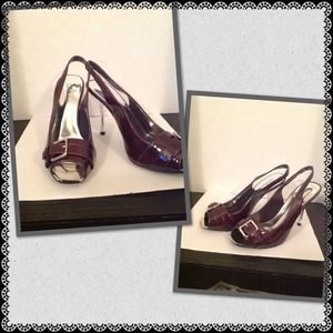 DELICIOUS Shoes - NWOB....WINE BROWN PATENT SLINGBACK