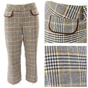Alvin Valley Brown Capri Crop Plaid Pants 28""