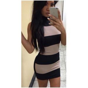 Striped Knit Bodycon Dress