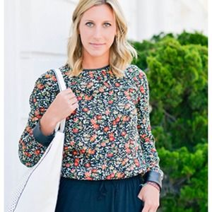 Floral Blouse with Leather Detail