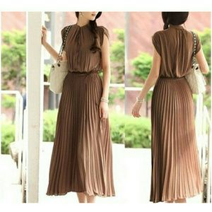 Pleated Maxi Dress.  (Brown or Black available)