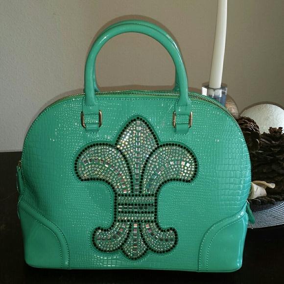 70e71923e Bags | Fleur De Lis Patentleather Croc Pattern Mint Bag | Poshmark