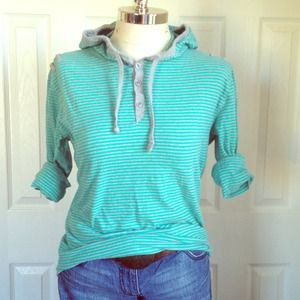 anchor blue Tops - Turquoise and grey long sleeve shirt with hood!