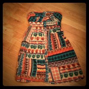 *NWOT* Strapless Aztec Print Dress