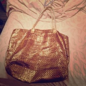 Gold Straw Tote Bag!