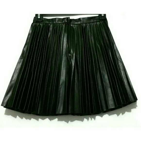 h m h m pleather pleated circle skirt from pegs s closet