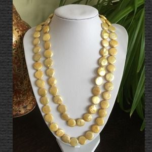"Jewelry - 🎉HP🎉NWOT 42"" Champagne 13mm Coin Pearl Necklace"