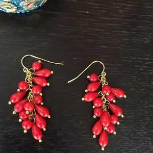 Jewelry - 🎉HP🎉NWOT Red Coral Earrings with GP Hooks