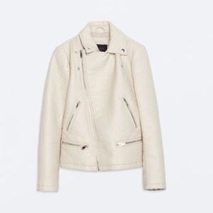 Zara cream Faux Leather Jacket