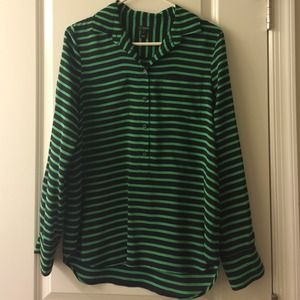 J. Crew Tops - 💥SALE💥J Crew Navy/green striped silk top