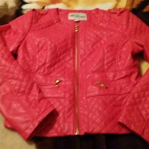 Jackets & Blazers - Hot pink quilted jacket large leather