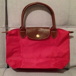 Red Longchamp Le Pliage small tote bag