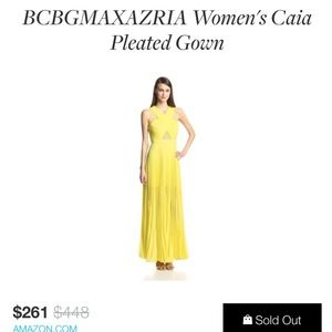 BCBG Caia formal cocktail Yellow long Gown $448