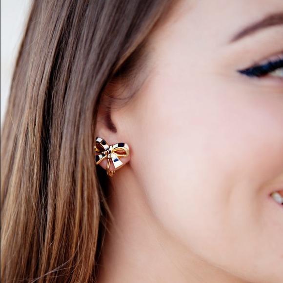 Kate Spade Jewelry Striped Bow Clip On Earrings Poshmark