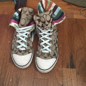 High top foldable coach sneakers!!